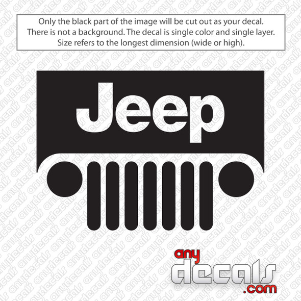 Jeep Logo With Grill Decal Sticker