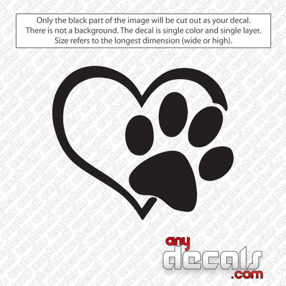 Heart Paw Print Decal Sticker