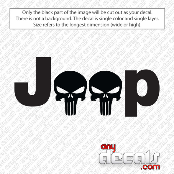 Jeep Punisher Skull Decal Sticker