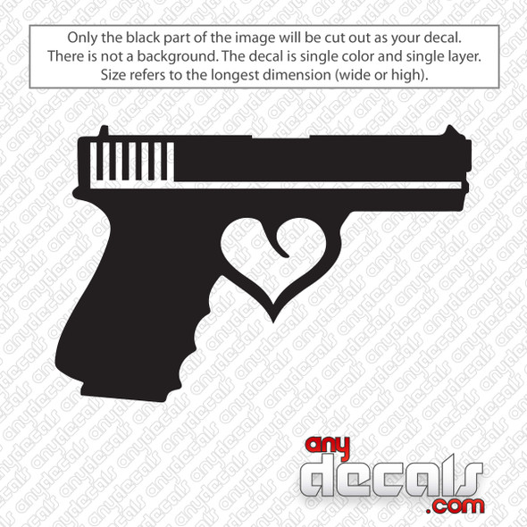 Gun Heart Trigger Decal Sticker