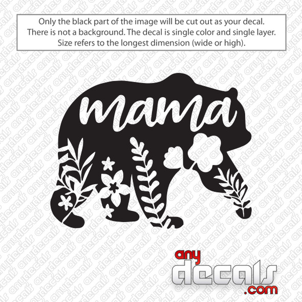Mama Bear Floral Decal Sticker