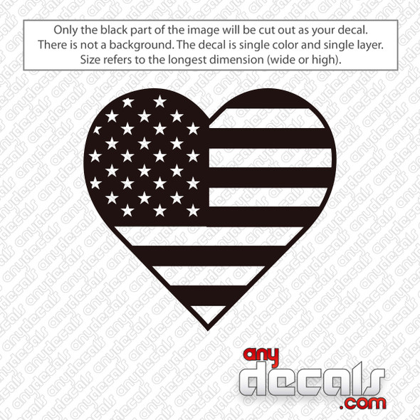 Heart American Flag Decal Sticker