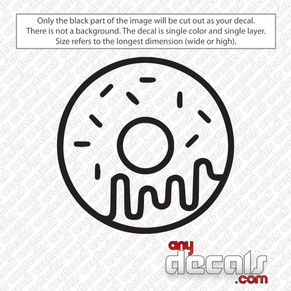 Dripping Donut Outline Decal Sticker