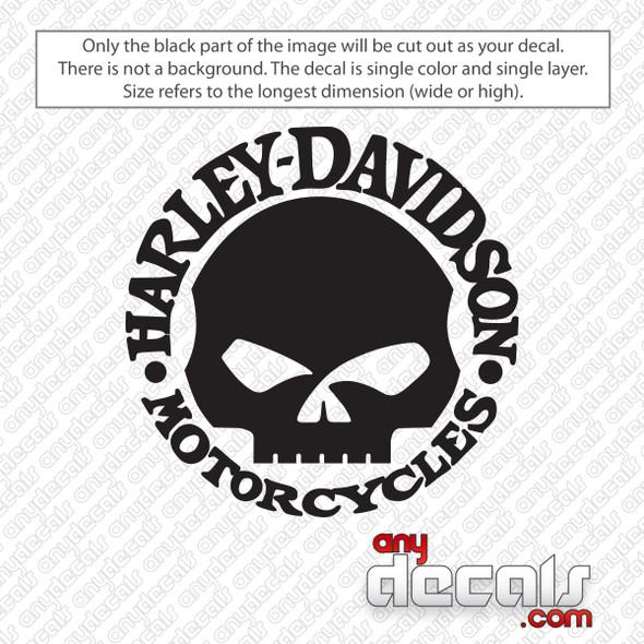 Harley Davidson Motorcycles Skull Logo Decal Sticker
