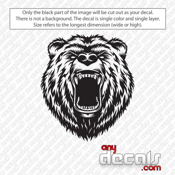Growling Bear Decal Sticker