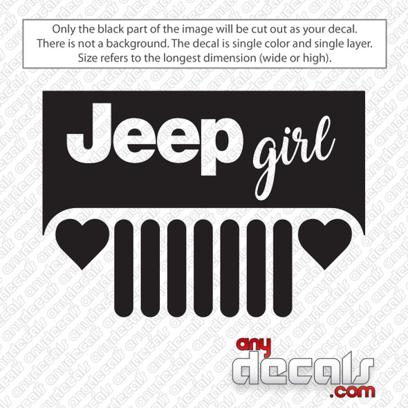 Jeep Girl Grill Decal Sticker