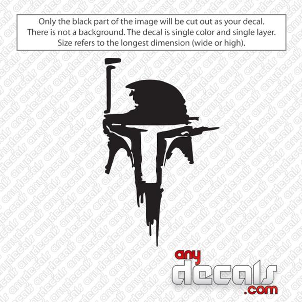 Star Wars Boba Fet Helmet Decal Sticker
