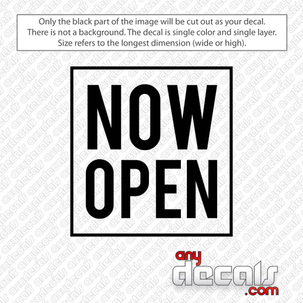 Now Open Square Decal Sticker