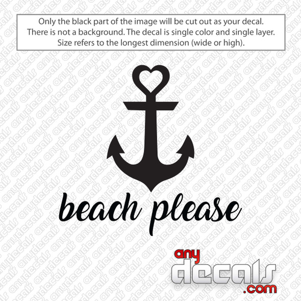 Beach Please Heart Anchor Decal Sticker