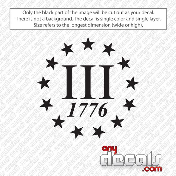 Three Percent 1776 Decal Sticker