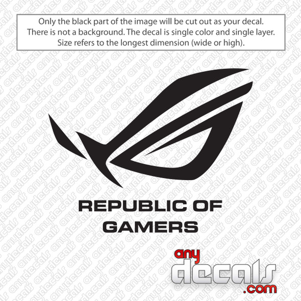 Asus Republic of Gamers With Text Decal Sticker