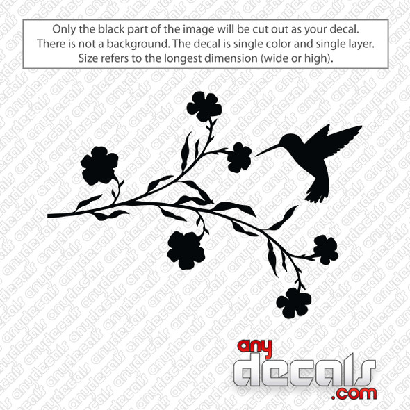 Hummingbird With Flowers Decal Sticker