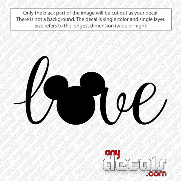 Disney Love Mickey Ears Decal Sticker
