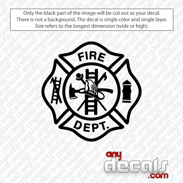 Firefighter Maltese Cross Decal Sticker