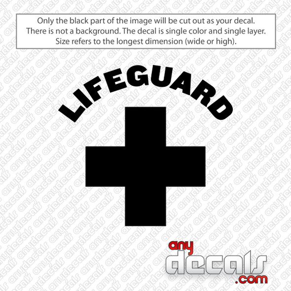 Lifeguard with Cross Decal Sticker