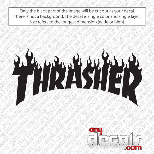 Thrasher Skate Logo With Flames Decal Sticker