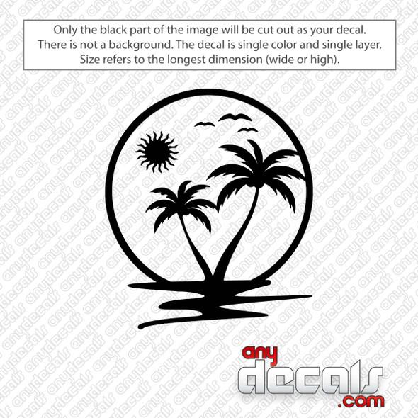 Sun Palm Tree Beach Decal Sticker