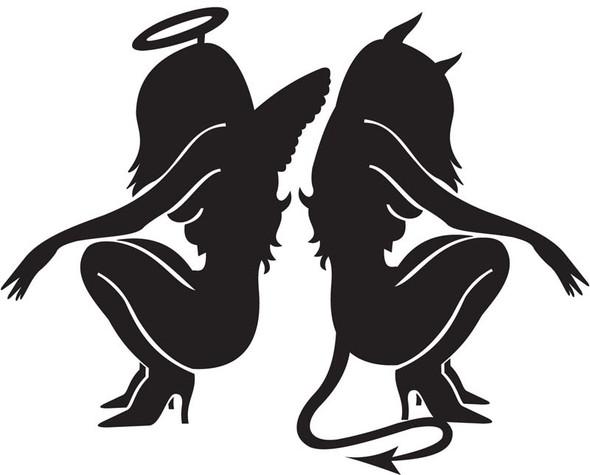 Sexy Angel & Devil Car Decal