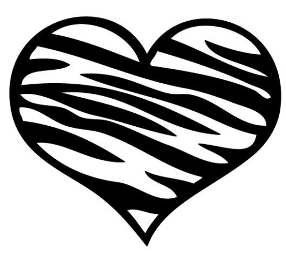Zebra Heart Car Decal