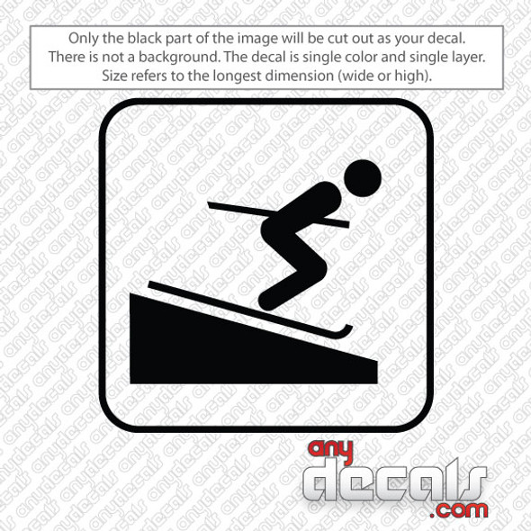 skiing symbol car decals and stickers