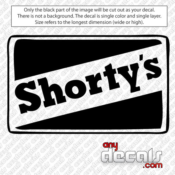 Shortys Skateboard Logo Car Decal, surf decals, skate decals, surf stickers, skate stickers,skate car decals, car decals, car stickers, decals for cars, stickers for cars