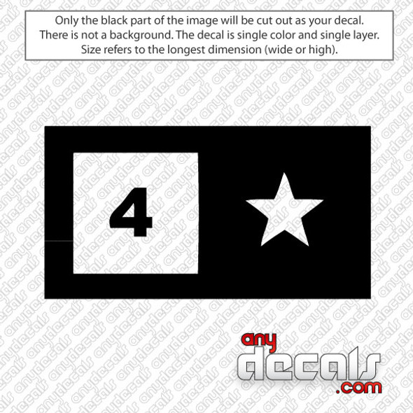 Four Star Skateboard Logo Car Decal, surf decals, skate decals, surf stickers, skate stickers,skate car decals, car decals, car stickers, decals for cars, stickers for cars