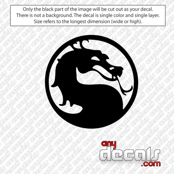 A defining and best-known feature of the Mortal Kombat series is a finishing move called Fatality. An original idea behind the Fatalities was to give gamers a free hit at the end of the fight. Mortal Combat Emblem Car Decal for use outdoors on cars, windows, or other surfaces. Vinyl used for decals is high quality outdoor rated vinyl. All vinyl decals are made in the USA