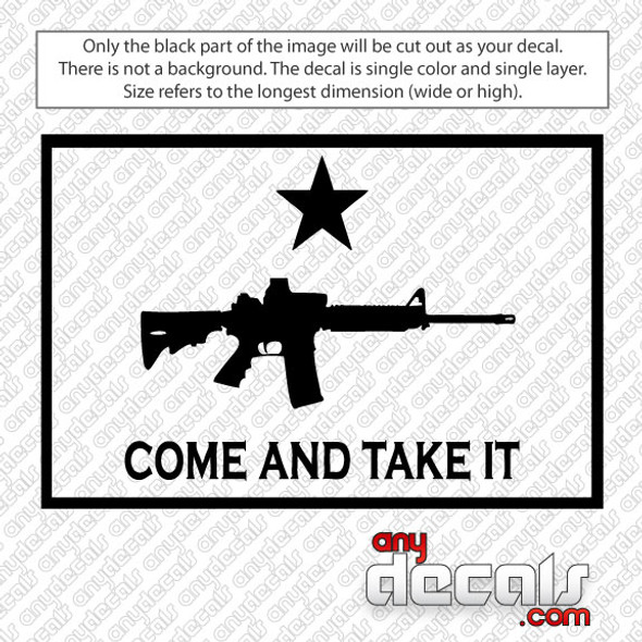 Come and Take It AR15 Outlined Car Decal
