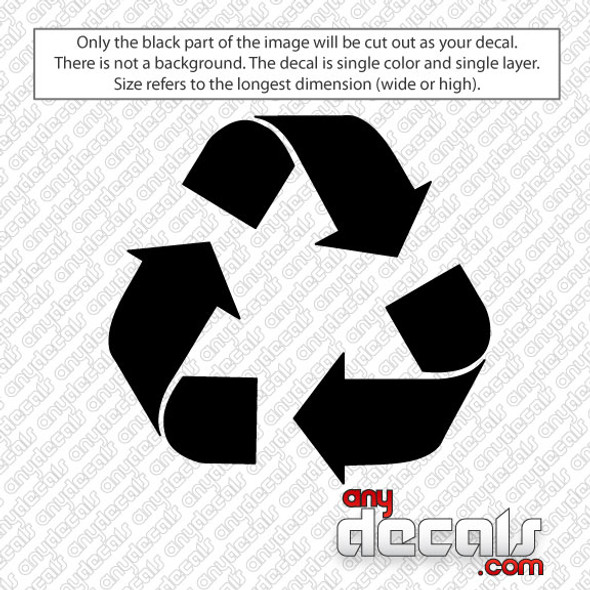 reduce reuse recycle symbol car decal