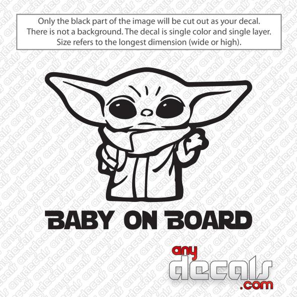 Baby Yoda On Board Decal Sticker