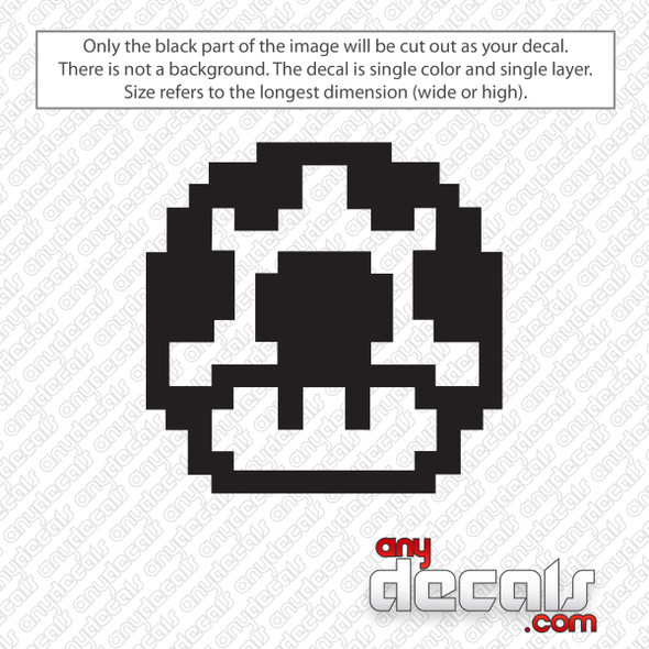8bit Mushroom Mario Decal Sticker
