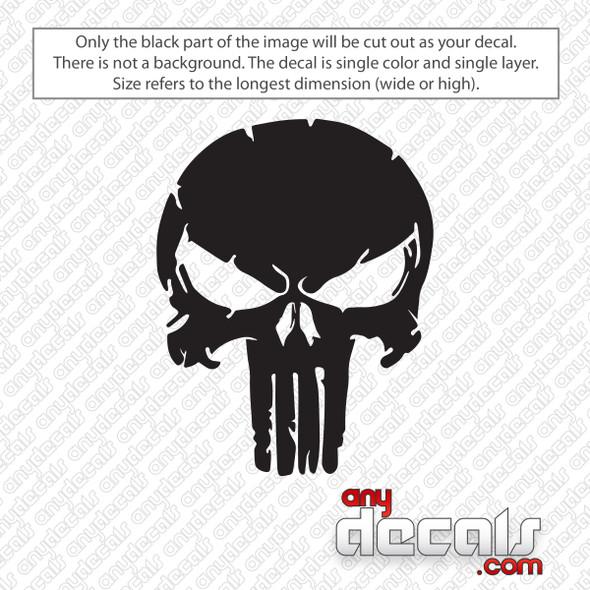 Punisher Skull Distressed Decal Sticker