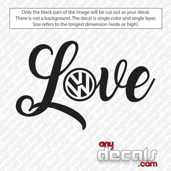 Volkswagen Logo Love Decal Sticker