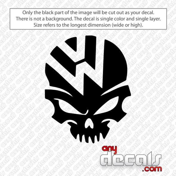 Volkswagen VW Skull Decal Sticker