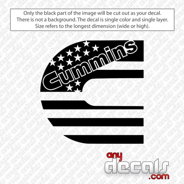 Cummins American Flag Decal Sticker