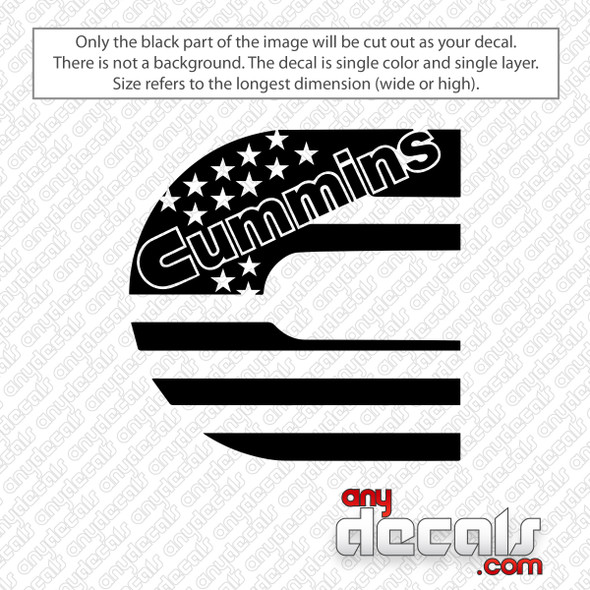 Cummins American Flag Decal Sticker
