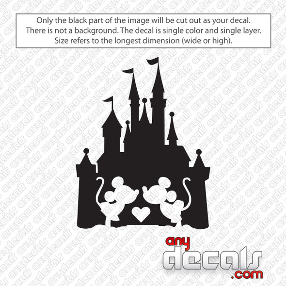 Disney Castle With Minnie and Mickey Kissing Decal Sticker