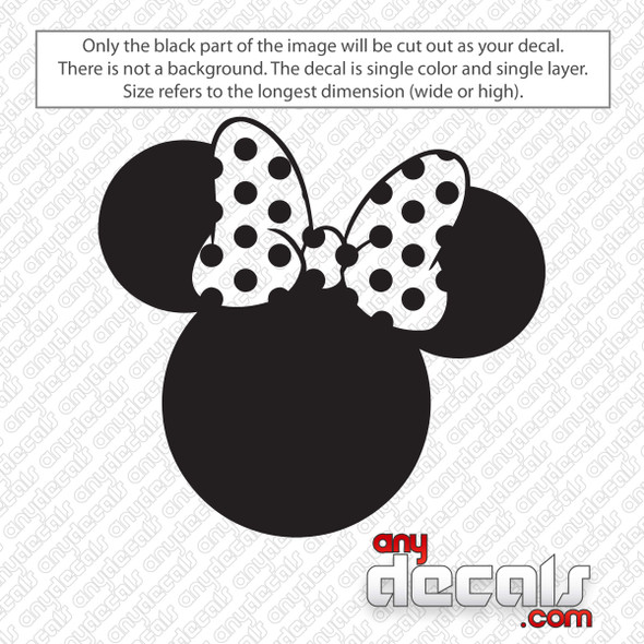 Disney Minnie Mouse Ears with Bow Decal Sticker