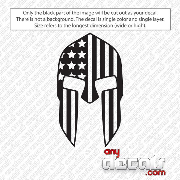 Spartan Helmet with American Flag Decal Sticker