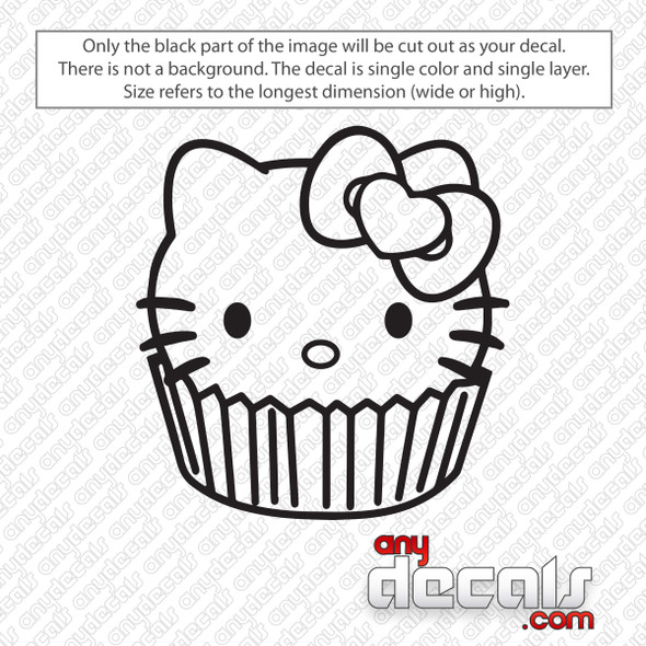 Hello Kitty Cupcake Decal Sticker