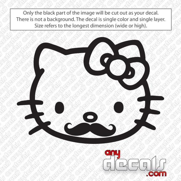 Hello Kitty Handlebar Mustache Decal Sticker