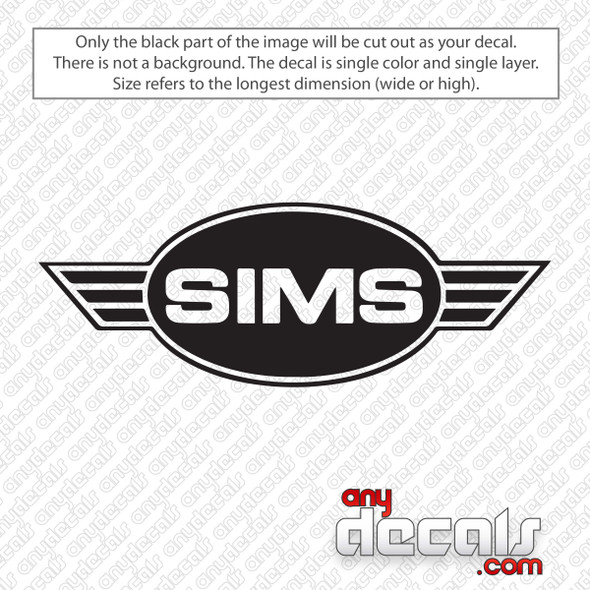 Sims Skateboards Logo Decal Sticker