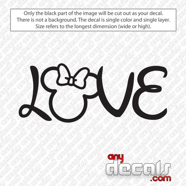 Disney Love Minnie Ears Decal Sticker