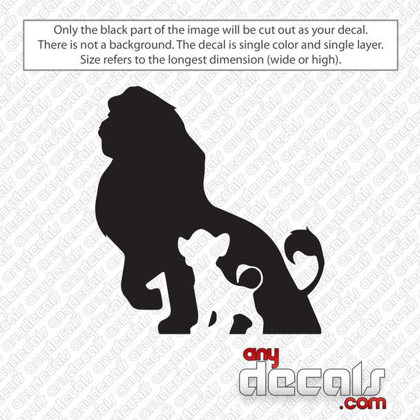 Disney Mufasa and Simba Lion King Decal Logo