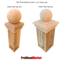 Cedar Wood Ball Finial 4 1/2 Crafted By Woodway Products