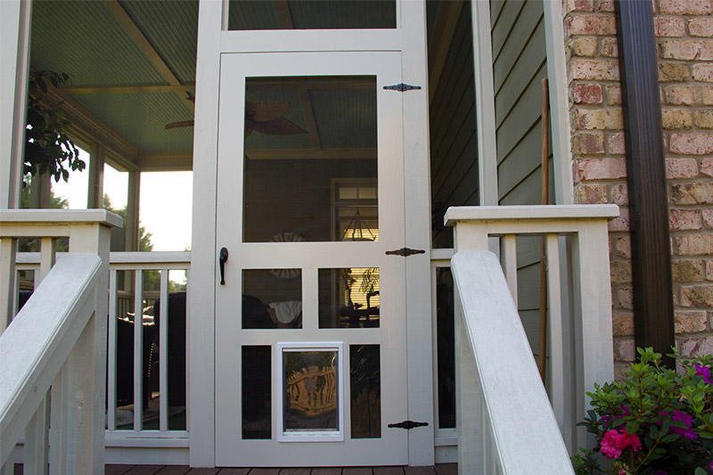 Screen doors with dog access