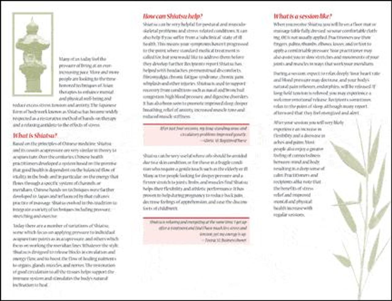 Shiatsu for Health - Brochure 10Pk