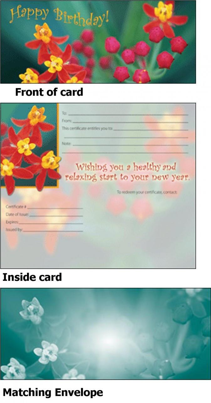 Massage Gift Card - Birthday Gift SINGLE