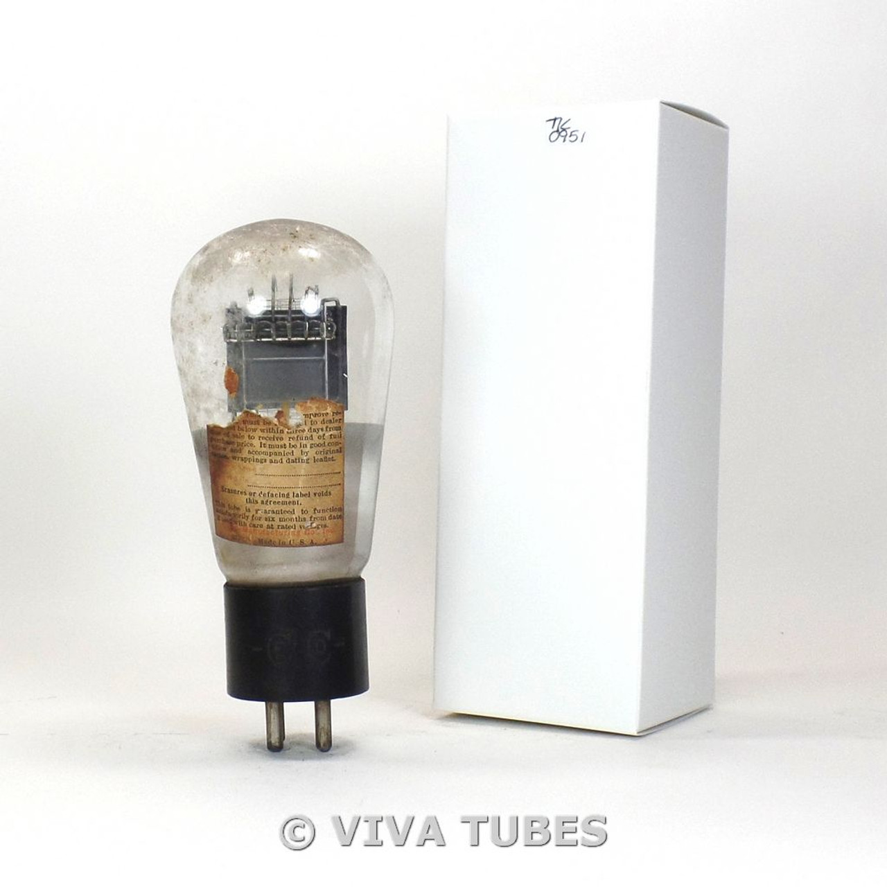 TESTS LOW/BAD Ceco USA Type 45 Black Plate ENGRAVED Globe Vacuum Tube