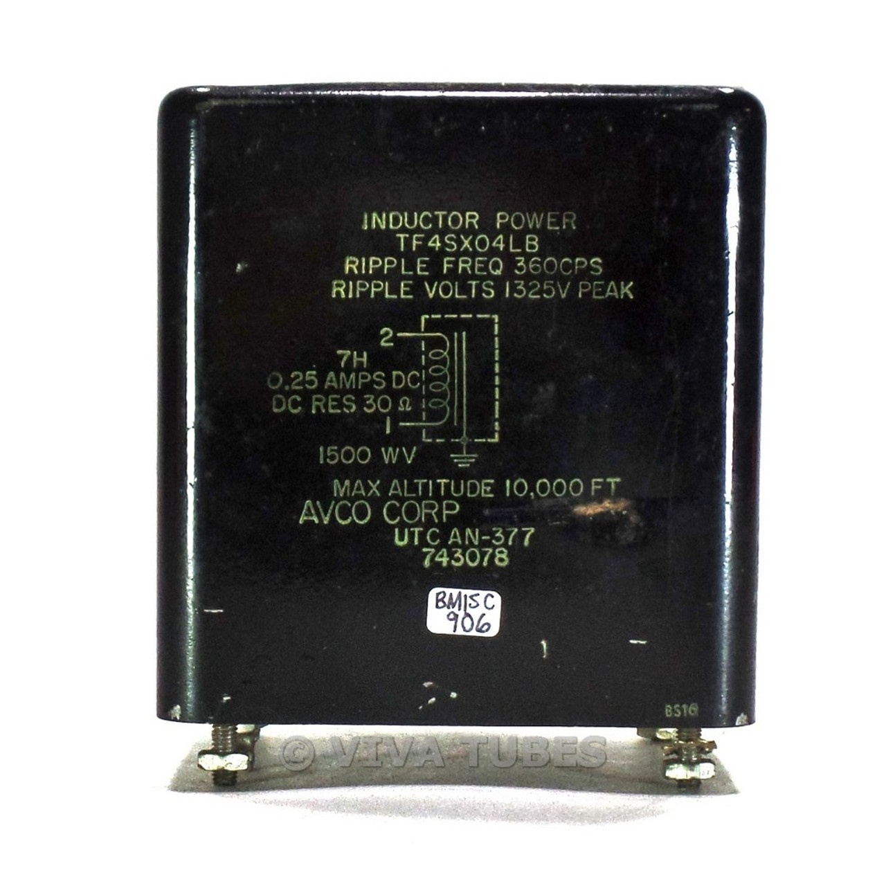 Vintage Avco AN-377 Inductor Choke Power Transformer 7H 0 25ADC 30ohm 1500WV